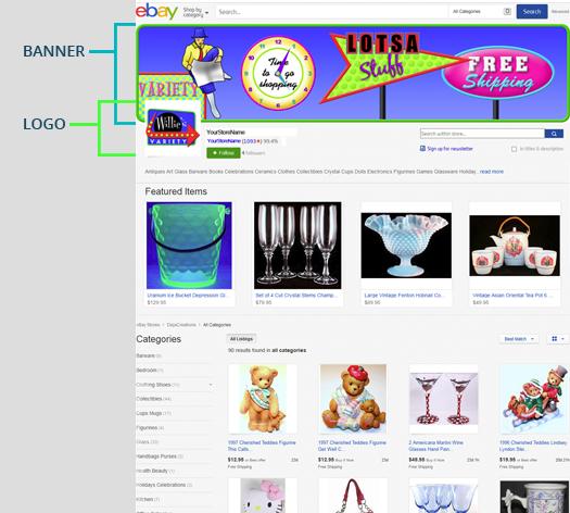 Original Custom Ebay Store Billboard Profile Mobile Responsive Template Logo Ebay